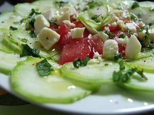 Zucchini carpaccio with tomatoes and feta by Alison