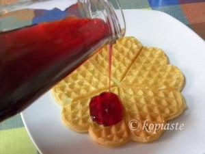 waffles with pomegranate syrup