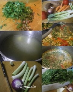 Collage Prassosoupa with leeks and vegetables
