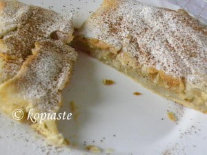 Homemade bougatsa cut