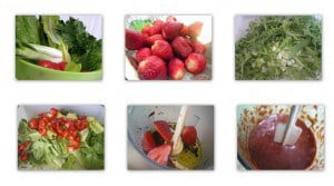 collage completed Salad with strawberries and chicken