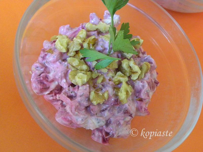 Beetroot walnut salad