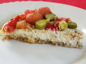 Piece of Savoury Greek Cheesecake marked