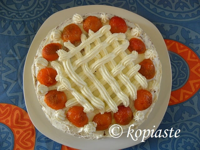 Cake with Caramelized Peppermint Apricots – A Taste of Yellow