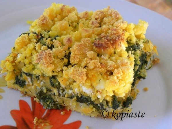 Savory Corn Crumble with Butternut Squash, Spinach and Feta from Ivy of Kopiaste
